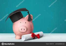 graduation piggy bank piggy bank graduation hat diploma stock photo billiondigital
