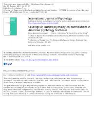 coverage of russian psychological contributions in american