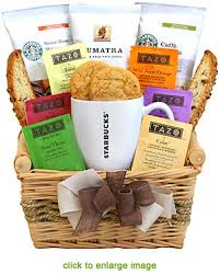 coffee and tea gift baskets starbucks coffee tea gift basket