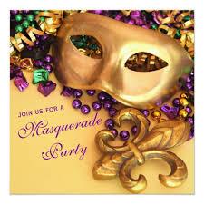 mardi gras masquerade gold mardi gras masquerade party invitations zazzle