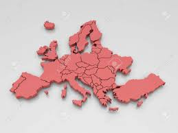 A Map Of Europe 3d Rendering Of A Map Of Europe In Red Stock Photo Picture And