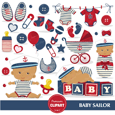 nautical baby shower clipart african american baby sailor