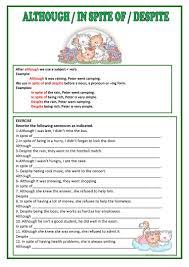 although despite u0026 in spite of worksheet free esl printable