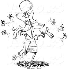 vector of a cartoon woman playing in spring flowers coloring