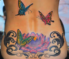 collection of 25 butterflies and lotus flower on back