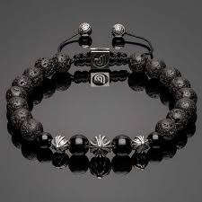 onyx beads bracelet images Silver cross beads black lava and onyx bracelet djakob jpg