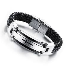 cross bracelet mens images Opk jewellry mens stainless steel cross design braided easter jpg