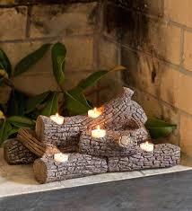 logs hearth candle holder fireplace candelabras holders for inside