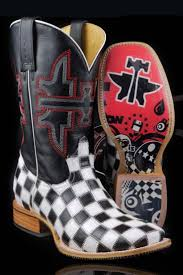 s country boots sale tin haul s black white checkered boom cowboy boots on sale