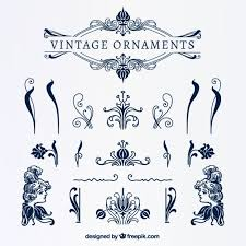vintage blue ornaments vector free
