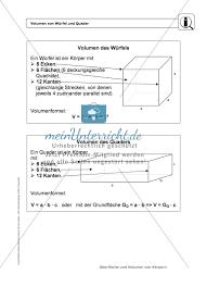 oberfläche eines würfels körper oberfläche und volumen würfel und quader infotexte