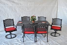 nassau outdoor patio 8pc oval dining table set dark bronze cast