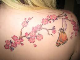 cherry blossoms butterfly on right shoulder tattooshunt com