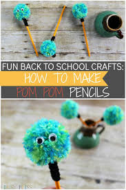 fun back to crafts how to make pom pom pencils busy bliss