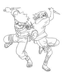 naruto and sasuke fight coloring pages for kids g6b printable