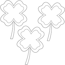 four leaf clovers with border 3 clovers coloring page st