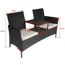 black black poly rattan two seater bench with tea table lovdock com