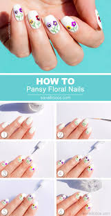 siberian pansy flower nail art tutorial