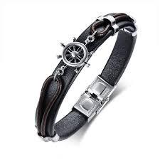 anchor bracelet black leather images Leather anchor bracelet for men guys women ccnc006 bt0204 ccgoodshop jpg