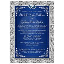 wedding invitation navy blue silver scrolls faux silver foil