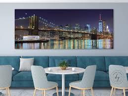 nyc panorama photo metal print brooklyn bridge new york city zoom