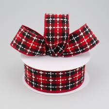 and black plaid ribbon 1 5 buffalo plaid stitched ribbon black white 10 yards
