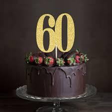 60 cake topper gold silver black glitter 60 cake topper sixty anniversary decor