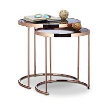 frosted glass coffee table relaxdays nesting tables round chrome frame set of 2 modern