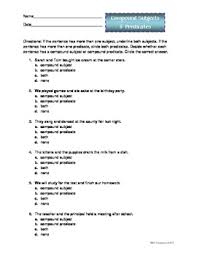 compound subjects and predicates worksheets for 5th grade 25