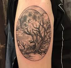 tree and moon by hauer tattoomagz