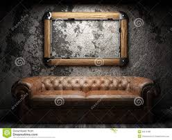 Aged Leather Sofa Leather Sofa And Frame In Dark Room Royalty Free Stock Photos