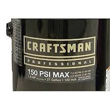 craftsman 27 gallon 1 9 rhp oil lubricated professional air