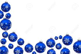 blue christmas balls making a border with white background