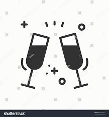 birthday drink wine two glasses toast icon binge drink stock vector 626789261