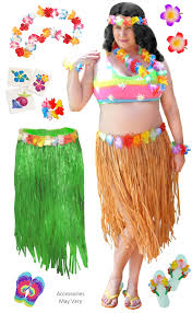halloween costumes sale sale green or tan hula dancer skirt deluxe costume set plus size