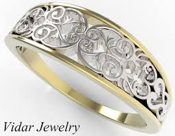 wedding ring designs gold yellow and white gold wedding band vidar jewelry unique custom