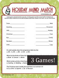 holiday mind match printable christmas party game
