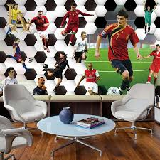 online get cheap football bedroom wallpaper aliexpress com customize any size 3d football athlete bedroom tv background wall paper home decor living room non