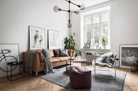 Living Rooms With Leather Sofas Grey Scandinavian Living Room With A Leather Sofa Interior