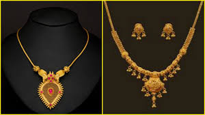 short necklace images Light weight gold short necklace designs jpg