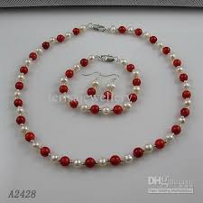 red necklace earrings set images 2018 nice pearl jewelry set aa 6 7mm white genuine freshwater jpg
