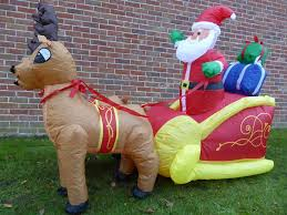 Outdoor Reindeer Christmas Decorations Uk by Inflatable Father Christmas Santa Reindeer Sleigh Decoration 180cm