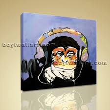 canvas print wall art dj monkey with headphone gorilla ape painting