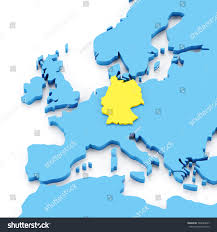germany europe map map europe germany highlighted yellow 3d stock illustration