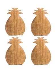 home essentials 4 pk wooden pineapple coasters stage stores