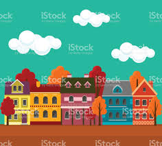 small cute houses autumn cityscape urban landscape in the fall with small cute