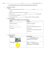 waves and electromagnetic spectrum guided notes