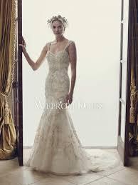 spaghetti straps ivory beaded wedding dress online store