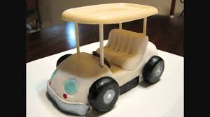 fondant rice krispies and white chocolate golf cart for a
