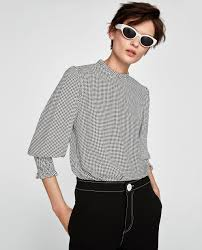 printed blouse two tone printed blouse view all shirts tops zara